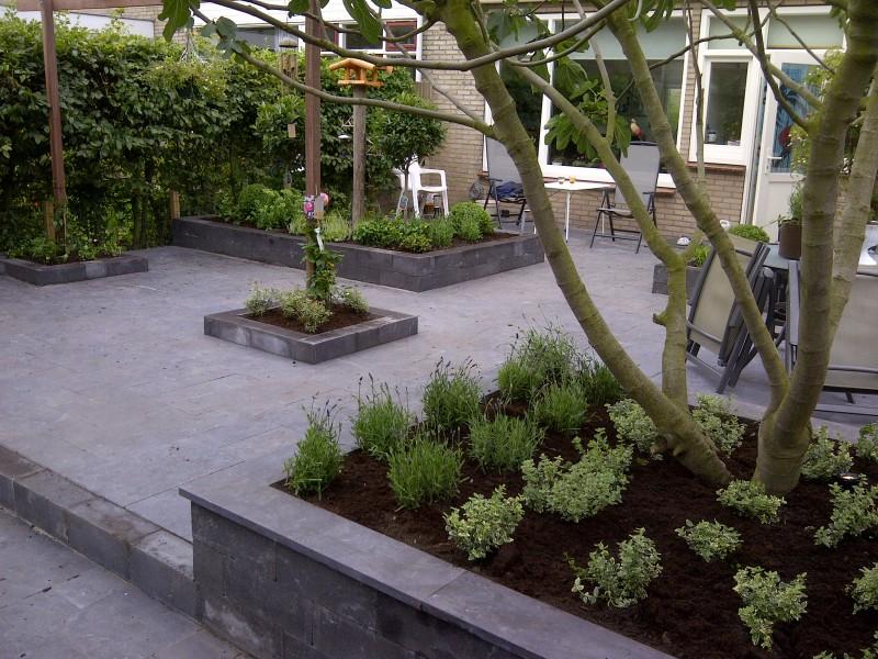 Voorbeelden bestrating achtertuin. turks marmer gezoet afmeting tuin